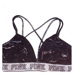 Victoria's Secret PINK black velvet bralette